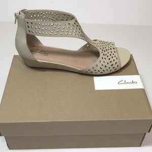 Clarks Abigail Ruby Perforated Leather Wedges Sand